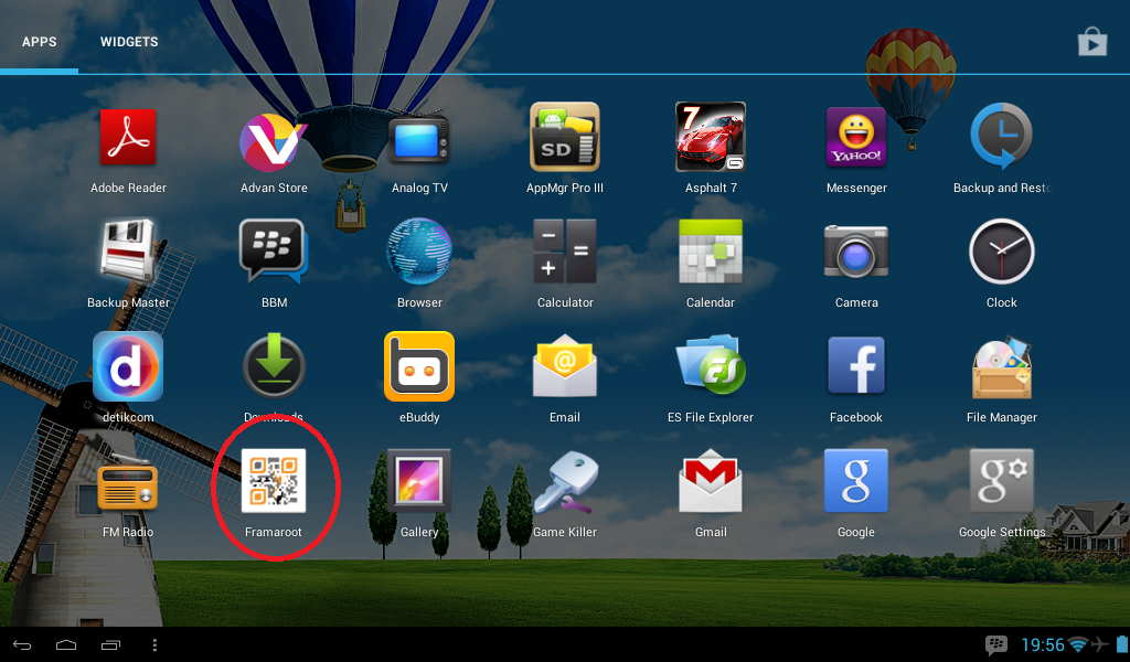 you will find framaroot icon on your tablet after installation